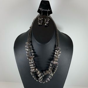 Jewelry - 5/$25 Black Necklace Set with Silver stones
